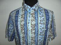 vintage 80s Prairie Shirts Hemd crazy pattern Viskose 80er gemustert 43/44 L