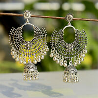Women Silver Carved Tassel Bells Drop Dangle Indian Jhumka Ethnic Earrings Gift