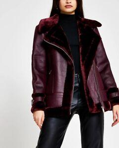 River Island Dark Red Oversized Shearling Aviator Padded Jacket Coat Fur Size 8
