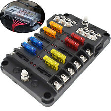 Fuse Box Fuses Holder 12 Way Blade Block LED Light 12V Car Accessories 24x Fuses