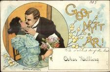 Jenny Nystrom New Year - Romance Kissing c1900 Postcard