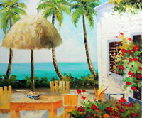 Beach House Patio Palms Flowers Caribbean Hawaii 20X24 Oil Painting STRETCHED
