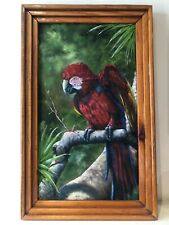Original Oil Painting Parrot/Jungle Canvas w/ Frame Signed E.Curtis Highwaymen