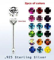 2pcs.of color  22g ~2mm Round  Prong Set C.Z..925 Sterling Silver Nose Bone