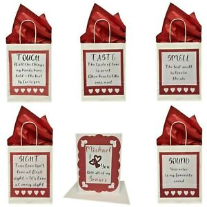 Personalised Five 5 Senses Card & Gift Bags Valentines Gift Birthday Christmas