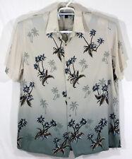 Croft & Barrow Mens XXL 2XL Button Up Hawaiian Shirt Beige Green Palm Trees (K)
