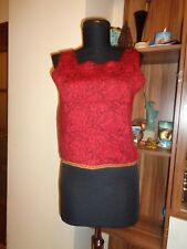 OLEANA RED KNITTED WOOL/SILK FLORAL PRINT CROPPED TANK #5267-INDRE ARNA-SIZE M