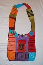 BOHO Shoulder Bag PURSE Hippy Embroidered Cell Pkt PEACE STARS Brown Orange OWL