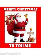 Christmas cake edible Icing father christmas santa square topper decoration D36