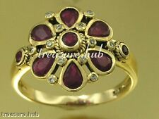 C492 Genuine 9ct SOLID Yellow Gold Natural RUBY & DIAMOND Blossom Ring size N