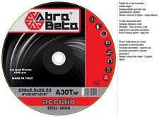 DISCO ABRASIVO * ABRA BETA * DA TAGLIO SMERIGLIATRICE 230 X 2,5mm ACCIAIO  25PZ