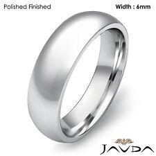 High Polish Platinum Plain Dome Wedding Band Men Comfort Ring 6mm 15.8g 12-12.75