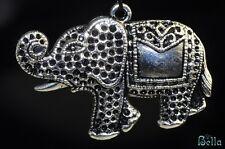 32x46x2mm Thai Pride~SILVER PEWTER ELEPHANT Fancy Pendant F0555