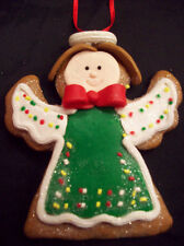 CHRISTMAS Gingerbread Cookie GREEN ANGEL ORNAMENT NEW Xmas Tree Decoration ROMAN
