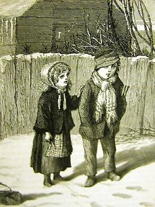 Eytinge BOY & GIRL SCHOOL DAYS SNOW 1870 CHILDREN Antique Art Engraving Matted