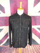 #923 Firetrap Mens Blue Denim Long Sleeve Vintage Shirt, L (Fits like Medium)