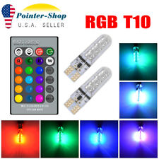 2x T10 RGB LED Remote Control Multicolor Bulb Parking Light W5W 192 194 168 2825