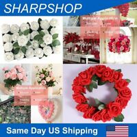 Fake Rose Artificial Foam Flowers Bridal Home Wedding Bouquet Party Home Decor