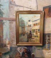 Altstadt in Brüssel. Original Ölgemälde mit Rahmung. Geldanlage Impressionist