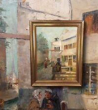 Old Town in Brussels. Original Oil Painting with framing. very Beautiful impressionist