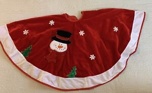 """Red Velvet Snowman Embellished Christmas Tree Skirt 42"""" Diameter"""
