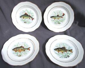 """Französisches Porzellan """"Haute Porcelaine"""" 4 Teller Fisch Motiv Goldrand"""