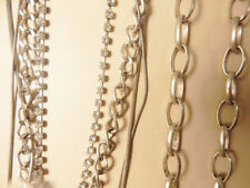 silver finish long link necklace, rhinestone, and solid strand, nice shape!