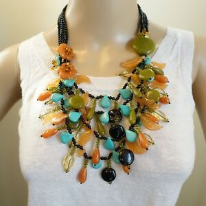 Onyx Coral Turquoise Beaded Necklace Dramatic Cascading Floral Artistry
