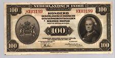NETHERLANDS INDIES 100 GULDEN P117 1943 AIRPLANE SHIP NETHERLANDSCH BANK NOTE