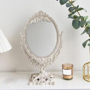 Retro Desktop Mirror Oval Dresser Cosmetic Makeup Mirror Tabletop Ornament