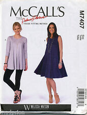 MCCALL'S SEWING PATTERN 7407 MISSES 6-14 FLARED TENT / SWING DRESS & TOP / TUNIC