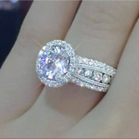 925 Silver 2ct White Sapphire CZ Promise Wedding Ring Luxury Engagement Jewelry