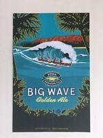 Rare KONA Brewing Co Big Wave Poster Hawaii Liquid Aloha Beer Bar Surf Beach