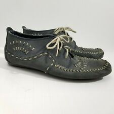 Hush Puppies Easy Times Womens Shoes 8 B Blue Leather Lace Up Moccasin Loafer