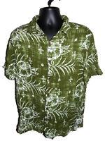 Margaritaville Hawaiian Aloha Shirt Size L Green Floral 100% Rayon