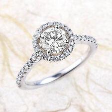1.00 CT Round Diamond Engagement Halo Ring 14K White Gold Center .75 CT H / SI2