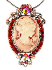 Ruby Red Crystal Vintage Tone Brass Cameo Lady Maiden Pendant Choker Necklace