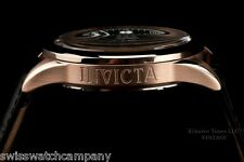 Invicta Men Vintage Swiss ISA Master Calender 18K Rose Gd IP Leather Strap Watch