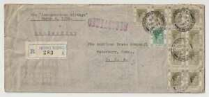 D3196: Hong Kong 1939 Pan Am Registered Cover, 22 stamps