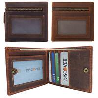 Men's Crazy Horse Leather ID Window Zipper Pocket Bifold Wallet
