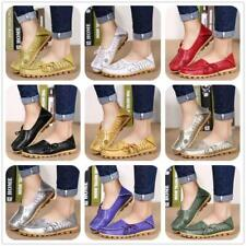 Womens Hollow Out Carving Leather Driving Moccasin Flat Loafers 14 Colors Shoes