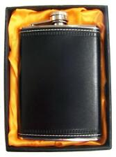 LARGE 8 OZ BLACK LEATHER WRAPPED FLASK IN GIFT BOX bar hip stainless steel NEW