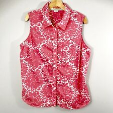 Women's Boden Button Front Sleeveless Blouse US Sz 14 Floral Pattern Pink White