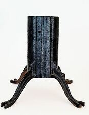 Old Cast Iron Rustic Christmas Tree Stand Blk Flag Pole Sign Holder Footed Base