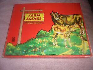 Vtg Milton Bradley Farm Puzzle Box 3 Complete Puzzles 4909-1 Cats Horses Sheep