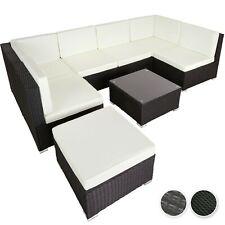 Salon de jardin canapé résine tressée poly rotin 6 chaises 1 table 1 tabouret