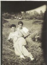 VINTAGE PHOTO: Handsome MOTHER & Fetching SON relax ON BED of HAY OUTDOORS 1942