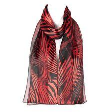 Chiffon Satin Ladies Womens Geometric Design Scarf Shawl Wrap Red/black
