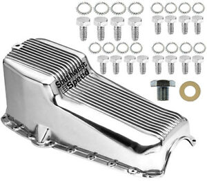 NEW 55-79 SMALL BLOCK CHEVY FINNED OIL PAN,POLISHED,LEFT SIDE DIPSTICK,262-350CI
