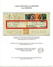 Weeda China 1932 cover to London via Siberia, 25c rate with Mixed Franking